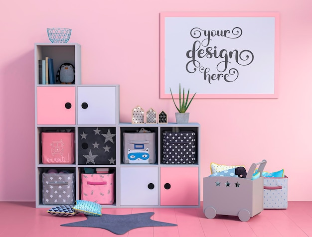 Spacious child room with new design furniture and mockup poster
