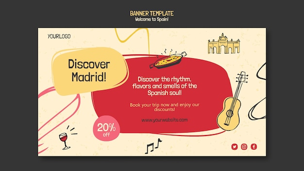 Spain culture banner template illustrated