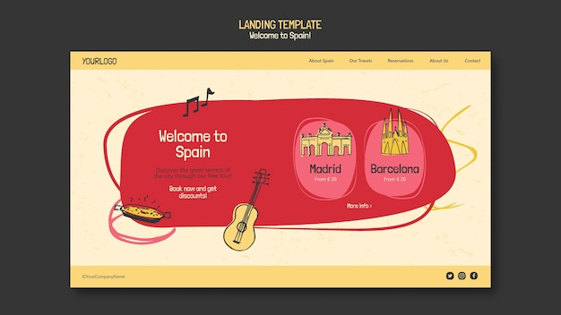 Целевая страница культуры испании Бесплатные Psd