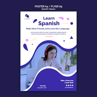 Spanish classes flyer template