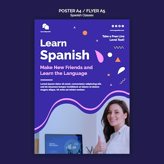 Spanish course flyer template