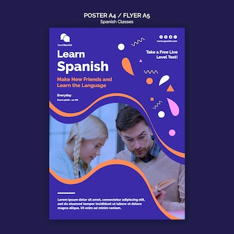 Spanish lessons flyer template