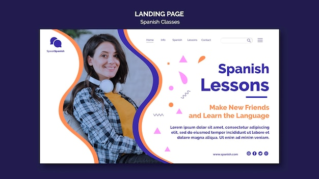 Spanish lessons landing page