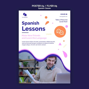 Spanish lessons poster template