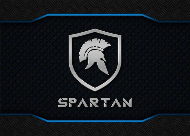 Спартанский металл логотип макет на синем металлическом фоне