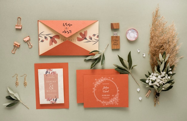 Special arrangement of wedding elements with cards mock-up