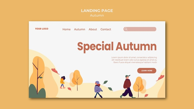Special autumn landing page template