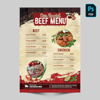 Special beef menu