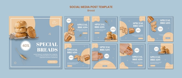 Special bread social media posts template