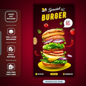 Special burger or restaurant instagram story template