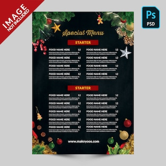 Special christmas  book menu back side