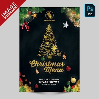 Special christmas book menu front cover