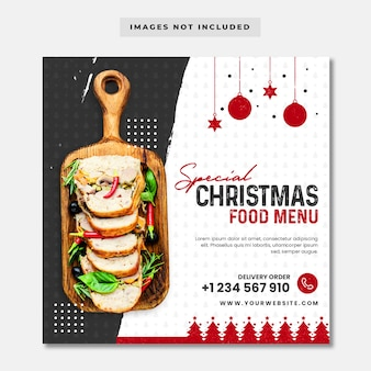 Special christmas food menu instagram banner template