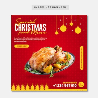 Special christmas food menu instagram post template