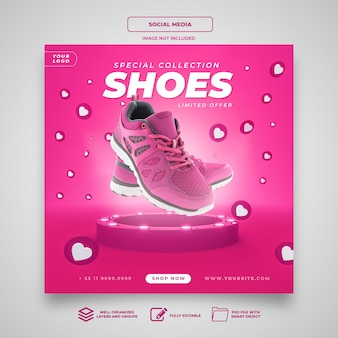 Special collection shoes instagram banner social media template
