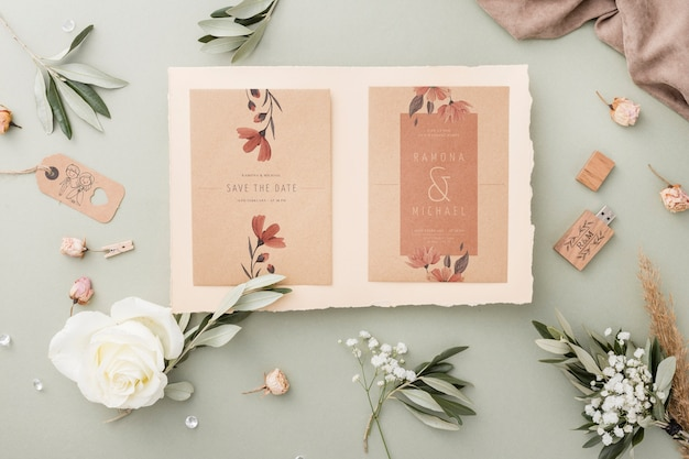 Special composition of wedding elements with invitation mock-up