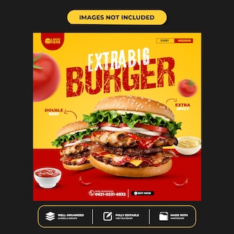 Special delicious burge social media banner post template