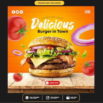 Special delicious burger social media banner post template