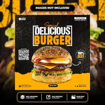 特別美味しいハンバーガー ソーシャル メディア バナー投稿テンプレート