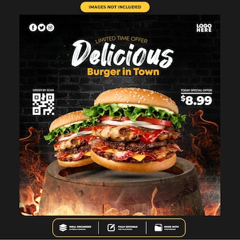 Special delicious burger social media post template