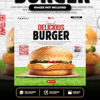 特別なおいしいハンバーガーソーシャルメディア投稿テンプレート