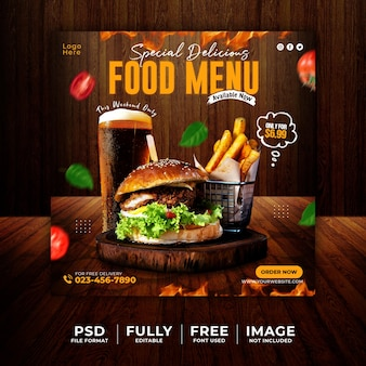 Special delicious food menu social media promotional template