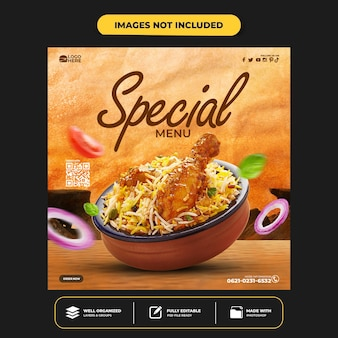 Special delicious food social media banner post template
