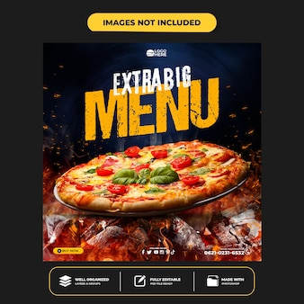 Special delicious pizza social media banner post template