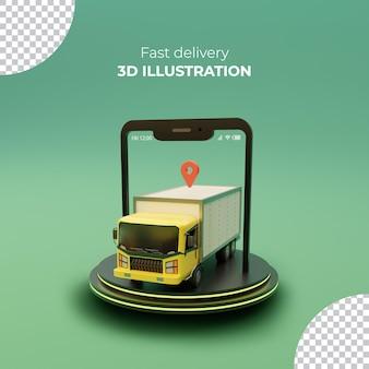 스마트폰 3d 렌더링으로 특별 할인 프로모션 태그 할인 제공