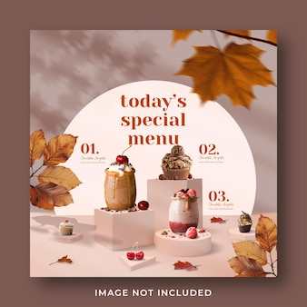 Special drink menu promotion social media instagram post banner template