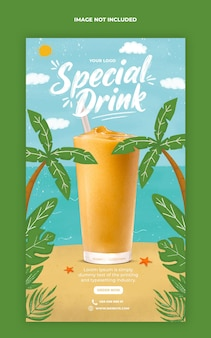 특별 음료 메뉴 프로모션 소셜 미디어 인스 타 그램 스토리 배너 템플릿