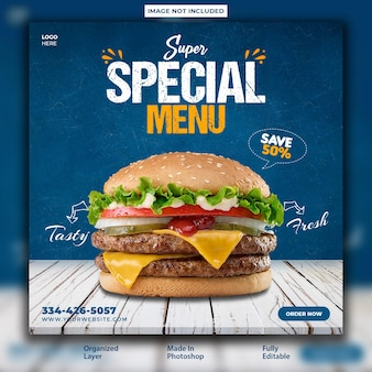 Special food menu promotional post design template