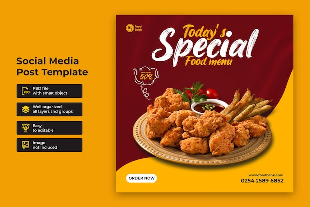 スペシャルフードソーシャルメディアプロモーションとinstagramバナー投稿デザインテンプレート