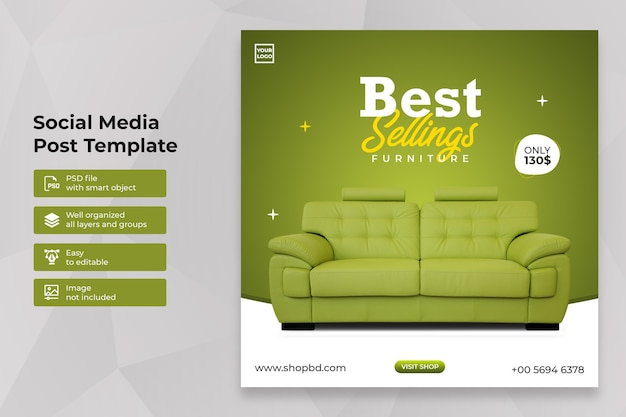 Special furniture sale social media post instagram template