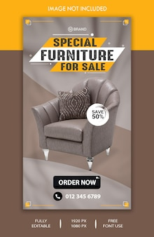 Special furniture for sale social media story template