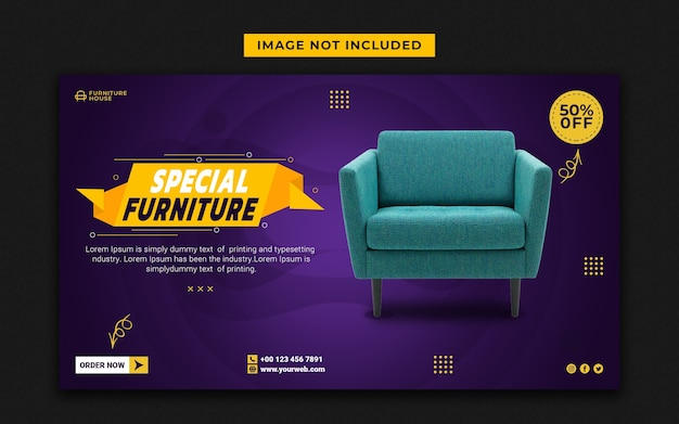 Специальная мебель для социальных сетей и шаблон веб-баннера Premium Psd