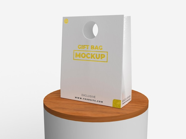 Special gift realistic textured bag for branding and wooden display mockup