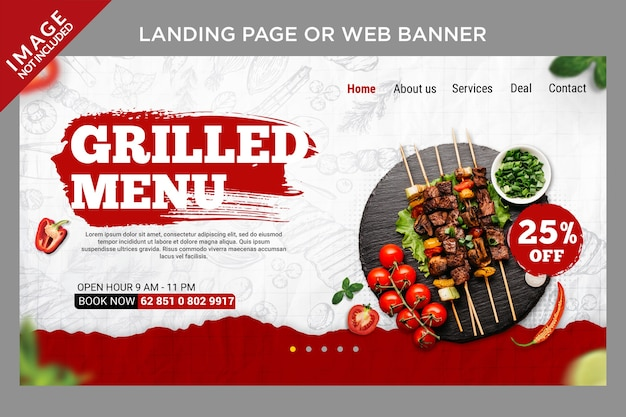 Special grilled menu for landing page or web banner template