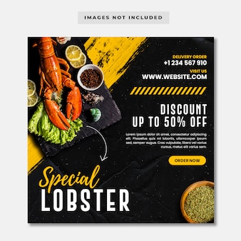 Special lobster social media instagram post banner template