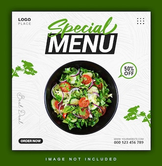 Special menu instagram banner or post design template
