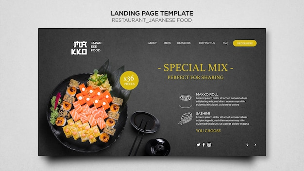 Special mix sushi restaurant landing page template