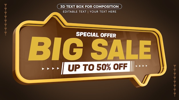 Special offer big promotion with up to discount in 3d rendering
