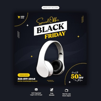 Special offer black friday social media banner template