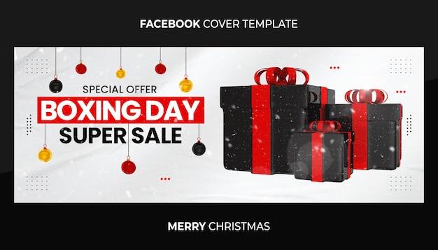 Специальное предложение день бокса супер распродажа обложка facebook и шаблон веб-баннера