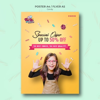 Special offer candy shop poster template