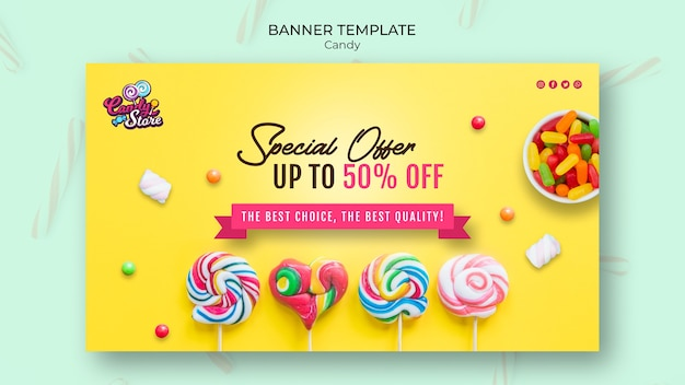 Special offer candy shop yellow banner