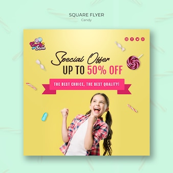 Special offer candy shop yellow square flyer template