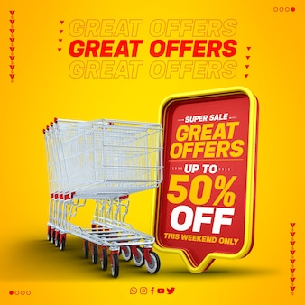최대 50 % 할인 된 빨간색 3d 텍스트 상자의 최종 판매 특별 제공