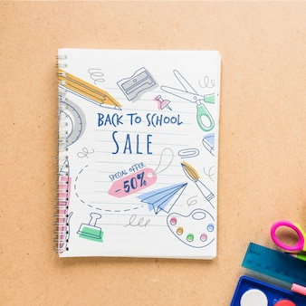 Special offer for school supplies with 50% discount