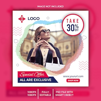 Special offer social media post design psd